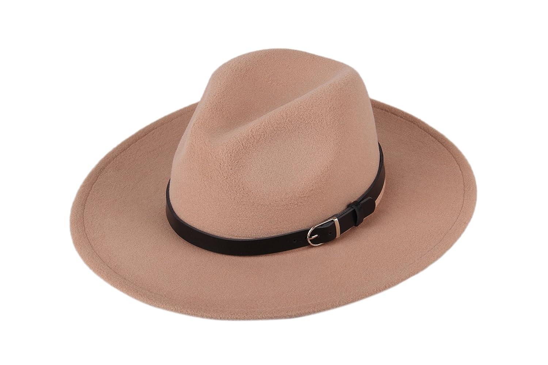 Dantiya Women's Wide Brim Wool Fedora Panama Hat with Belt Camel