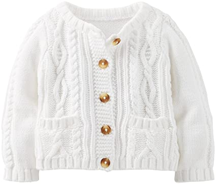 f6bea837f Amazon.com  Carter s Cable Knit Cardigan (Baby) - Ivory-3 Months ...
