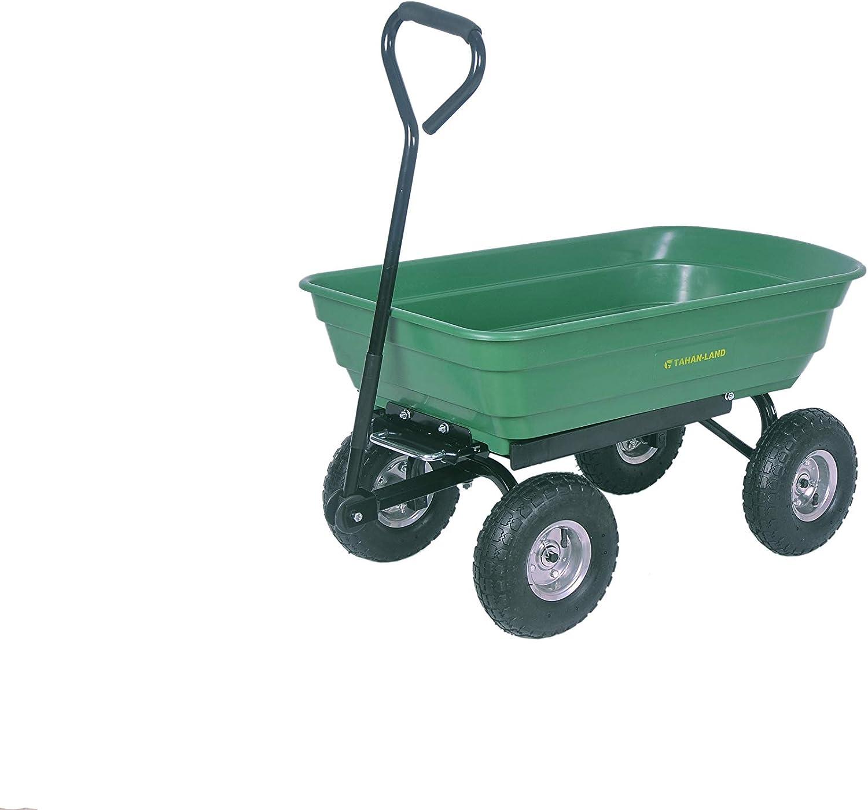 Garden Utility Wagon Beach Cart, Multifunctional Wheel Barrow Sturdy Hand Truck for Cargo,Wood, 700-lbs Weight Capacity