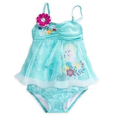 c7dc78f60a0d5 Amazon.com  Disney Frozen Elsa Deluxe Swimsuit for Girls - 2-Piece ...