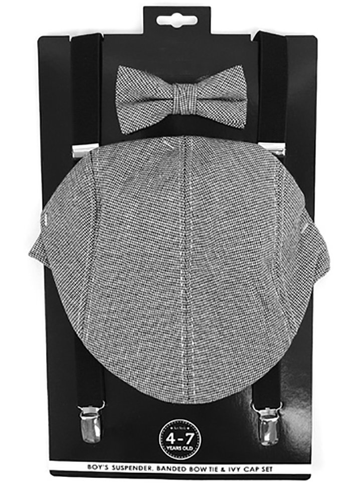 Selini Boys' Formal Set Including Ivy Cap, Suspenders, and Matching Bow Tie, Mini Gingham