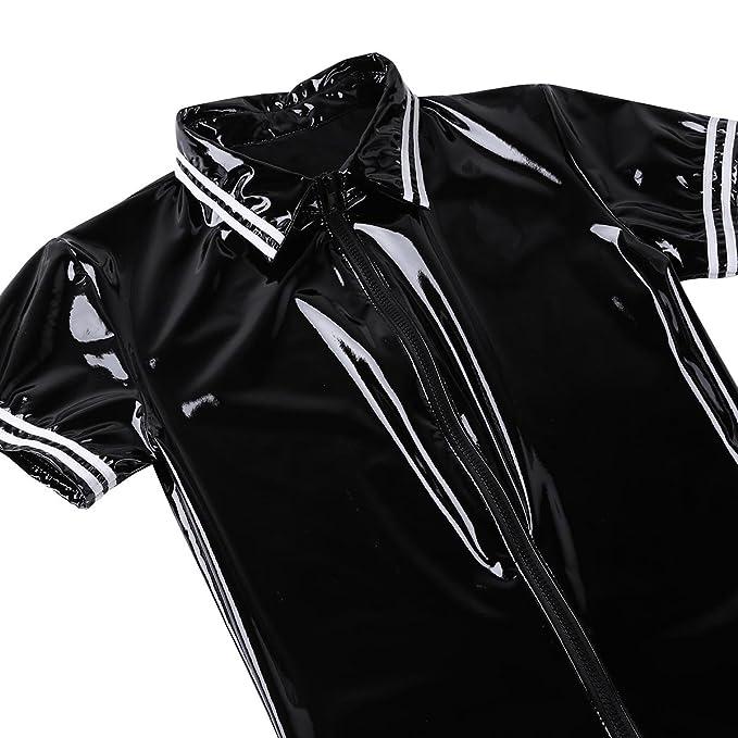 6d4c42f55cc9 Amazon.com  Freebily Men s Wet Look PVC Leather Latex Front Zipper Bodysuit  Jumpsuit Catsuit Clubwear  Clothing