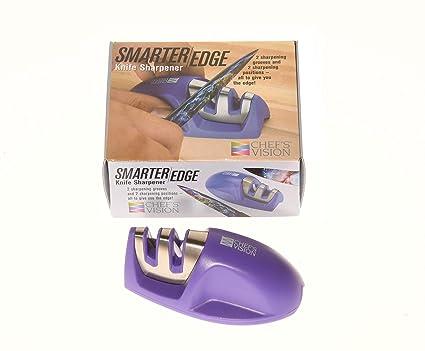 Smarter Edge Kitchen Knife Sharpener by Chefs Vision - Purple V-Shape 2 Stage Sharpener - Blade Sharpeners Tool - Colored Compact Knives Sharpener - ...