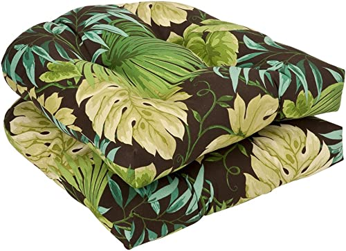Pillow Perfect Outdoor Indoor Tropique Peridot Tufted Seat Cushions Round Back , 19 x 19 , Green, 2 Pack