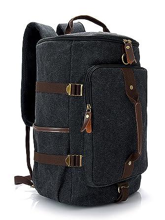 Canvas Duffel Bags Genuine Cow Leather Trim Travel Tote Duffel Large  Shoulder Handbag Weekend Bag ( d239d668ce2ce