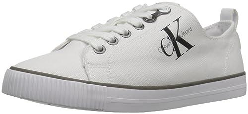 Calvin Klein Dora Canvas Wht, Zapatillas para Mujer: Amazon.es: Zapatos y complementos