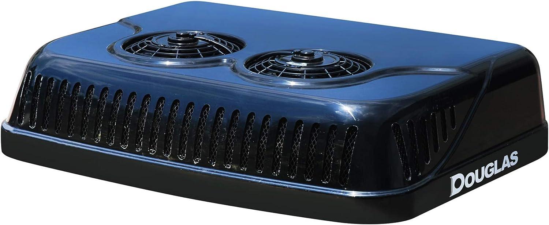 Douglas D20 Rooftop Air Conditioner, 9800BTU 12V, Black, No Idle, Battery Powered