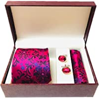 Biti Men's Printed Casual Micro Silk Tie with Pocket Square ans Cufflink Set (Free Size, Hot Pink)