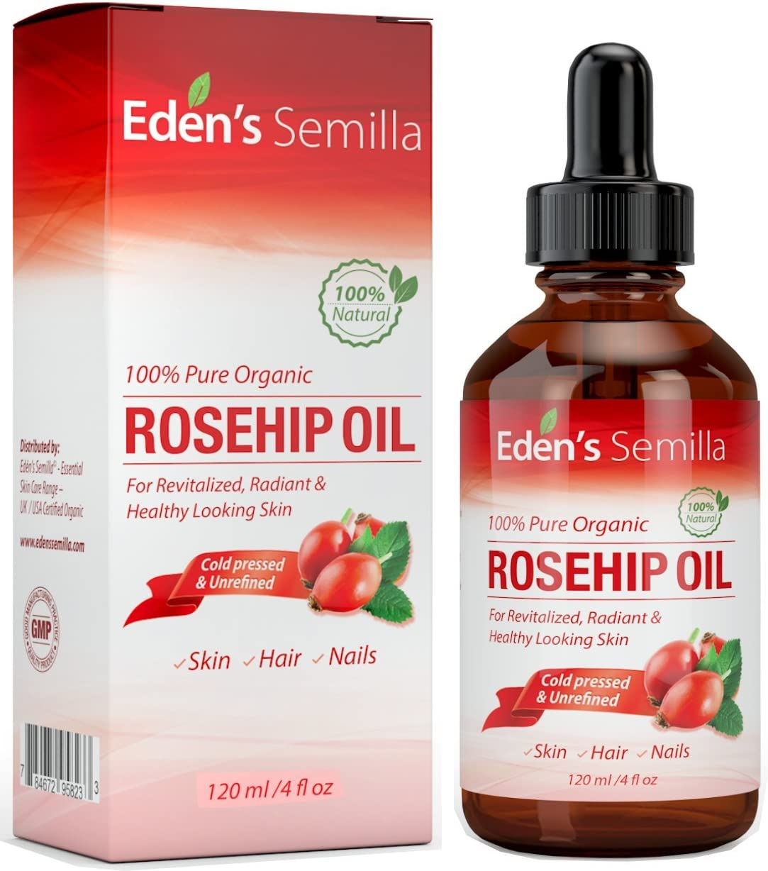 100% Pure Rosehip Oil - 4 OZ - Certified ORGANIC - Cold pressed & unrefined - NON Greasy HIGH absorbency - Use daily - Anti ageing, nourishes, hydrates and visibly reduces fine lines, scars, stretch marks and skin pigmentations - Suitable for all skin types - Eden's Semilla Essential Skin Care