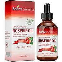 100% Pure Huile de Rose Musquée - 120ml - Certifié BIOLOGIQUE - Revitalise la peau et les cheveux - Cliniquement prouvé - Naturel / Pressée á froid et brute - NON gras HAUTE absorption - Usage quotidien - Anti- age, nourrit, hydrate et réduit visiblement les ridules, cicatrices, vergetures et tâches - Pour tout types de peaux - Eden's Semilla Soin essentiel pour la peau