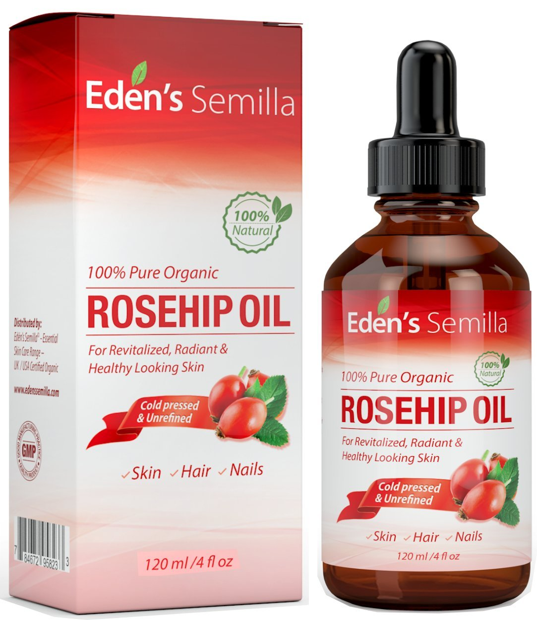 Aceite de Rosa Mosqueta (120ml). Aceite orgánico certificado. Prensado en frío y