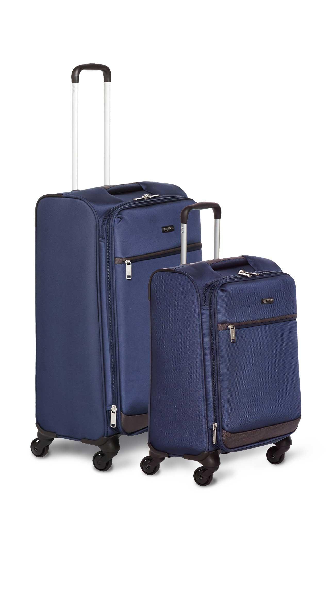 AmazonBasics Softside Spinner Luggage - 2 Piece Set (21'', 29''), Navy Blue