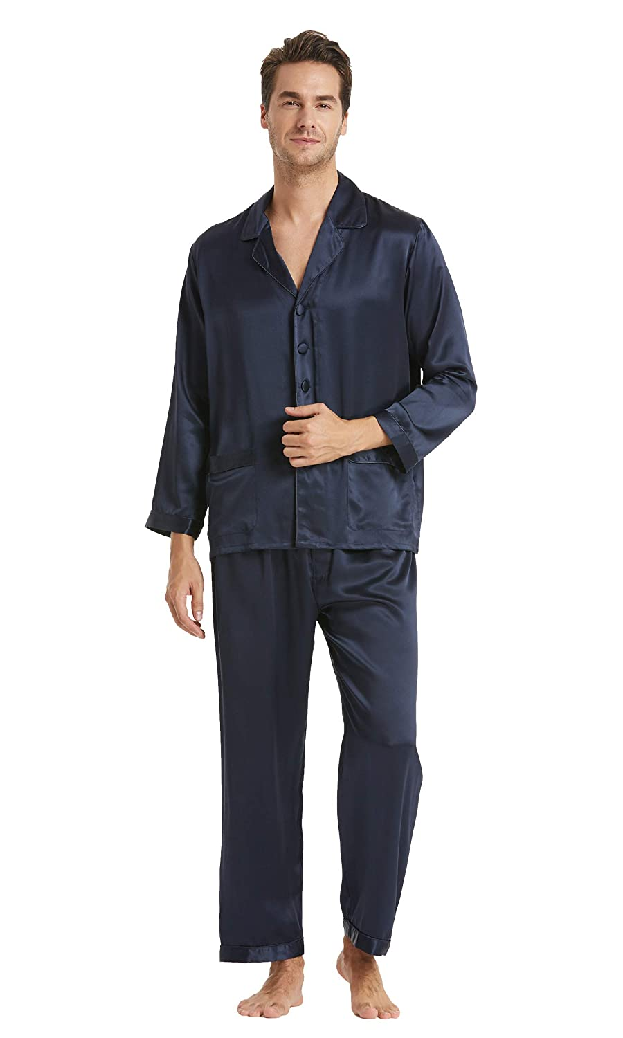 LilySilk Men's Silk Pajama Set 16 Momme 100% Silk Full Length Luxury Sleepwear CA2363
