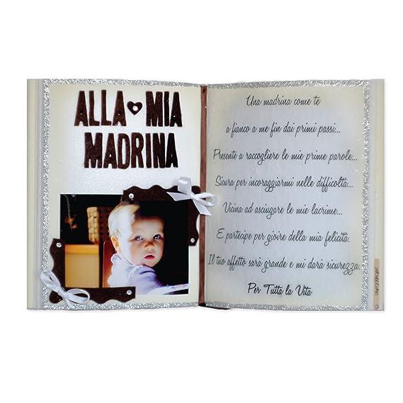 """LOVECAKE alla MIA Madrina – Libro Decorativo """"DEDICHE del Cuore"""" – Regalo  Originale, PORTAFOTO, Elemento d'arredo Realizzato artigianalmente in"""