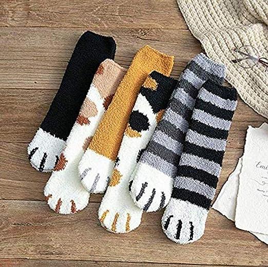 Soft Plush Coral Fleece Socks Floor Sleep Socks Cat Claws Winter Women Warm Home