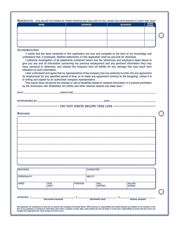 Amazon.com : TOPS 8 1/2 x 11 Inch Employee Application 50 Sheet Pads ...