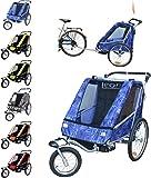 Papilioshop Leon Remorque poussette pour le transport de 1ou 2enfants avec vélo, roue avant pivotante, remorque pliable, New Jeans