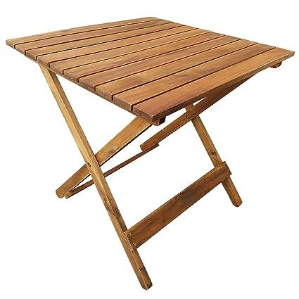 casa pura Holz Klapptisch GOA | platzsparender Beistelltisch für Terrasse  und Balkon | vorgeöltes wetterfestes Akazienholz | Maße aufgebaut 50 x 50 x  ...