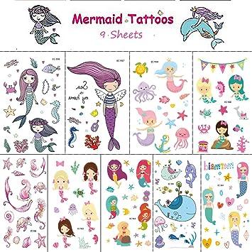 Amazon.com : CABEPOW Temporary Tattoos Stickers, Waterproof Mermaid ...
