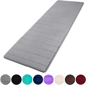 "Buganda Memory Foam Soft Bath Mats - Non Slip Absorbent Bathroom Rugs Extra Large Size Runner Long Mat for Kitchen Bathroom Floors 24""x70"", Grey"