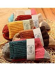 5 Pairs Japanese Thermal Women Socks Winter Warm Rich Wool Casual