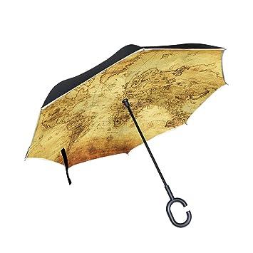 mydaily doble capa paraguas invertido coches Reverse paraguas Vintage mapa del mundo resistente al viento UV
