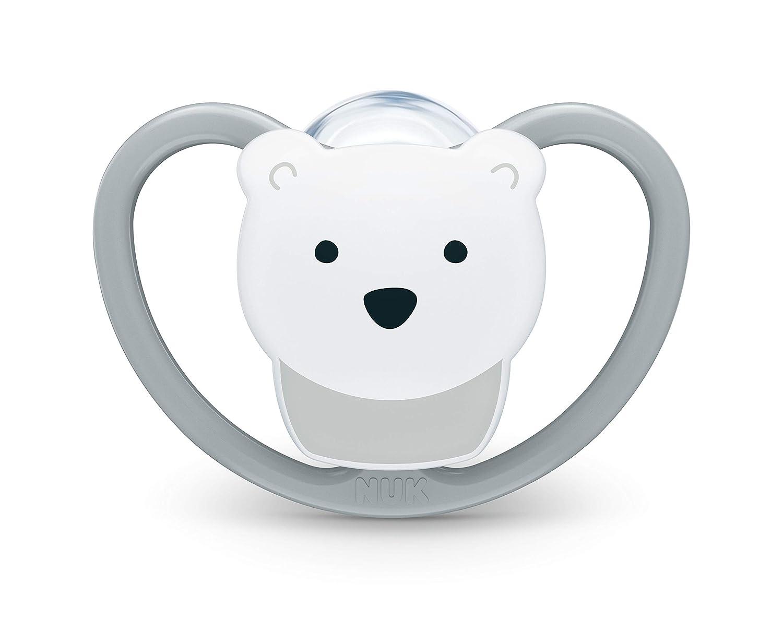 forma adaptada a la mand/íbula 6 meses gato y oso polar silicona Chupete espacial de Nuk