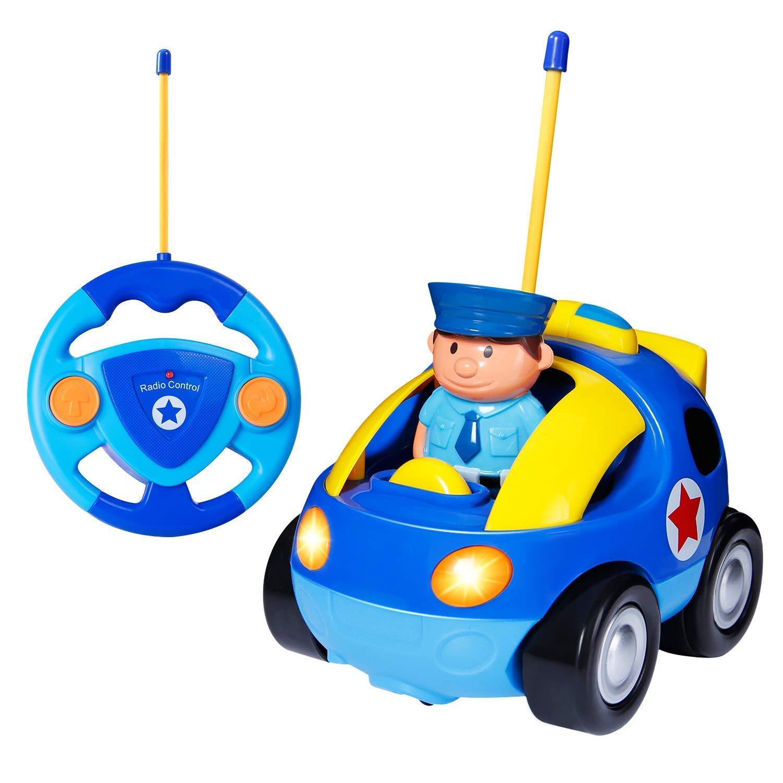 Yojoloin RC Cartoon Racer Voiture Té lé commande Police Jouet avec Musical & Lumiè re Cadeau d'anniversaire pour Enfants Tout-Petits (Bleu)