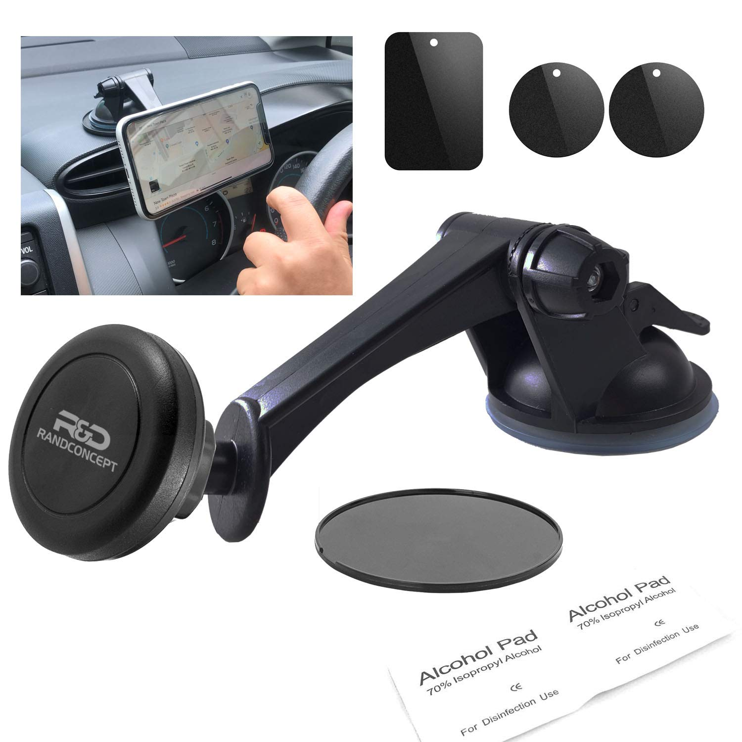 Randconcept - [New Version] Magnetic Phone Car Mount | Universal Phone Holder for Dashboard & Windshield | 3 inch Heavy Duty Suction Cup Phone Holder | 360 Rotation Strong Magnets for All Cell Phones by Randconcept