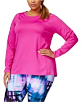 Calvin klein Plus Size Long-sleeve Pleated-back Active Top