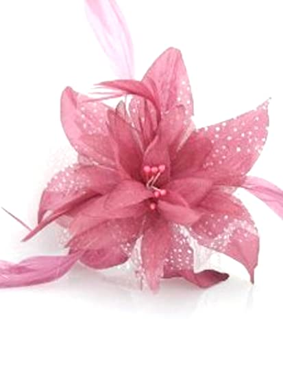 Dusky pink chiffon and feather Fascinator on comb  79586bdf582