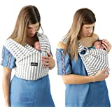 4 in 1 Baby Carrier Wrap and Baby Sling by Kids N' Such | Gray and White Stripes Cotton | Use as a Postpartum Belt and Nursing Cover with Free Carrying Pouch | Best Baby Shower Gift for Boys or Girls