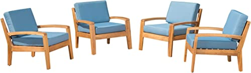 Parma Outdoor Acacia Wood Club Chairs with Cushions Set of 4 , Teak and Blue