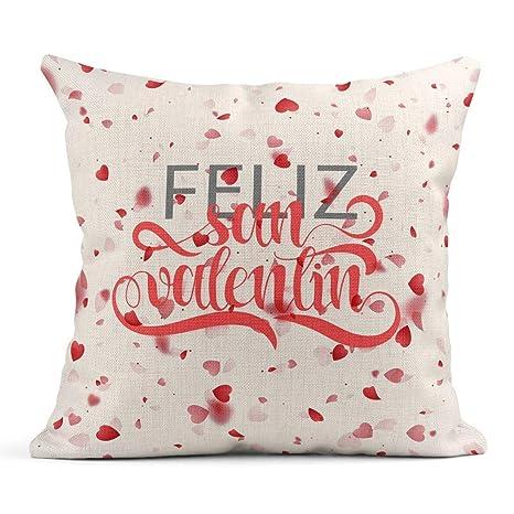Kinhevao Cojín Frase Feliz del día de San Valentín Español ...