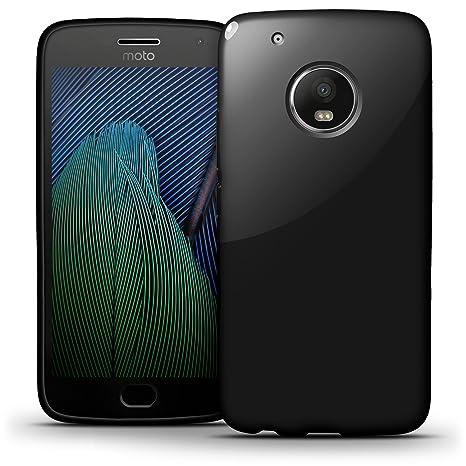 igadgitz Sólido Negro Lustroso Funda Carcasa Gel TPU para Motorola Moto G5 Plus (Moto G Plus 5ª Gen/Lenovo Moto G5 Plus) Case Cover + Protector ...