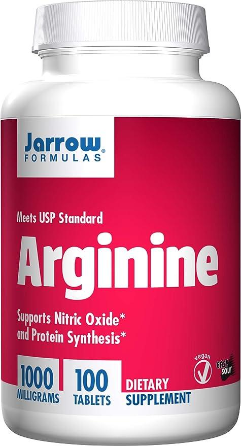 Jarrow Formulas L-Arginina, apoya la salud cardiovascular, 1000 mg, 100 tabs