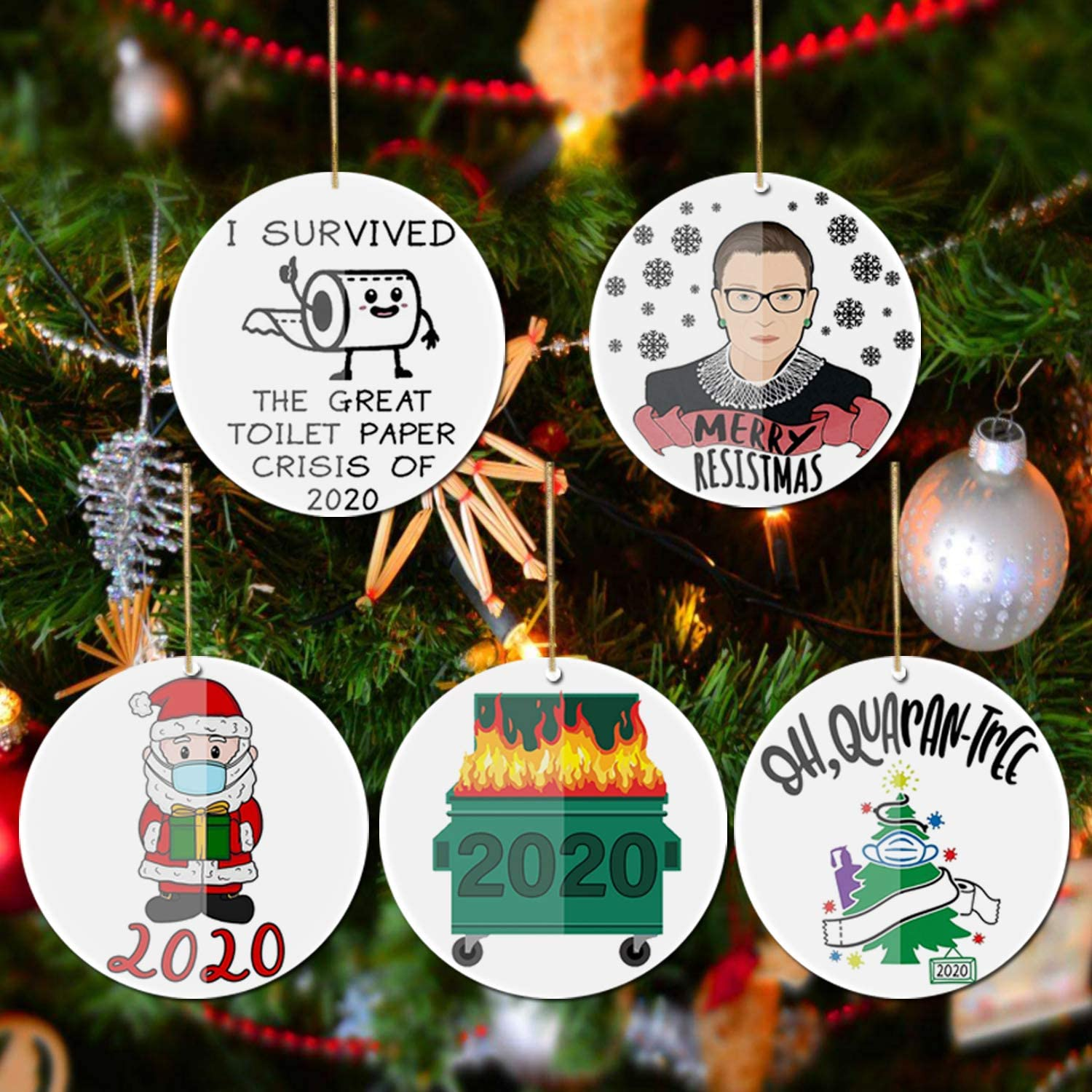 Christmas Ornaments 2020, 5PCS Christmas Decorations Christmas Tree Decorating Creative Gift Pendant for Home Indoor Outdoor Decor