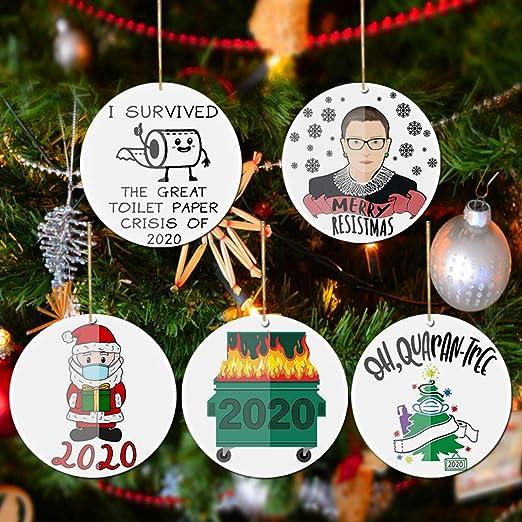 Merry Christmas 2020 Toilet Paper Blown Glass  Xmas Tree Ornament Decoration