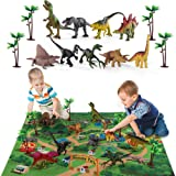 TEMI Dinosaur Toy Figure w/ Activity Play Mat & Trees, Educational Realistic Dinosaur Playset to Create a Dino World Includin