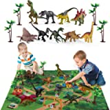 TEMI Dinosaur Toy Figure w/ Activity Play Mat & Trees, Educational Realistic Dinosaur Playset to Create a Dino World,for…
