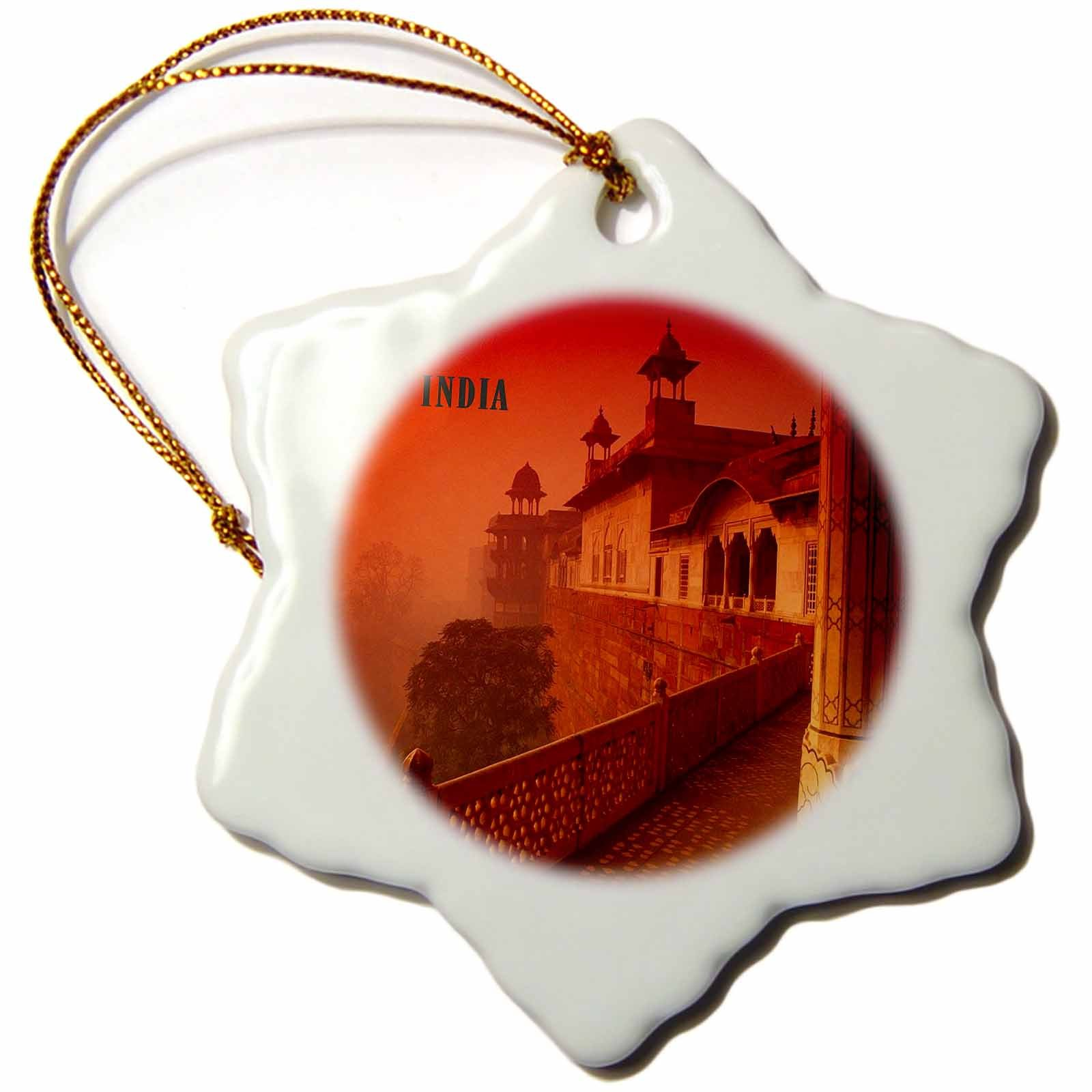 3dRose orn_80785_1 Agra Fort India Snowflake Porcelain Ornament, 3-Inch