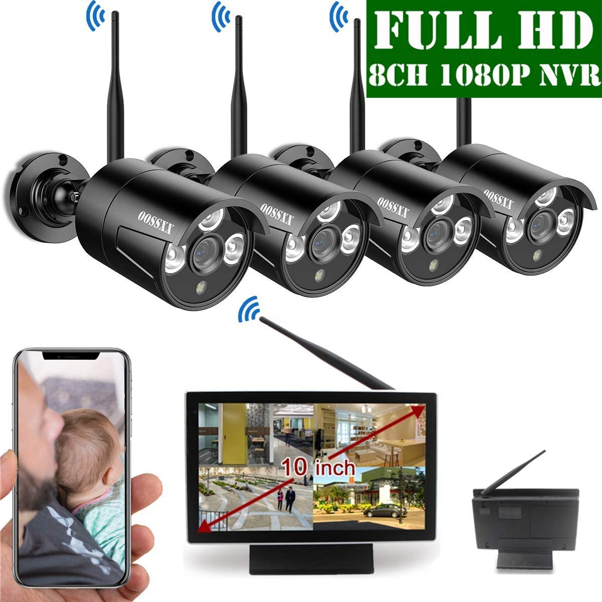 2020 Update 10 inch Screen HD 1080P 8-Channel Outdoor Wireless Security Camera System,4pcs 1080P Wireless IP67 Weatherproof IP Cameras,70FT Night Vision,P2P,App, NO Hard Drive