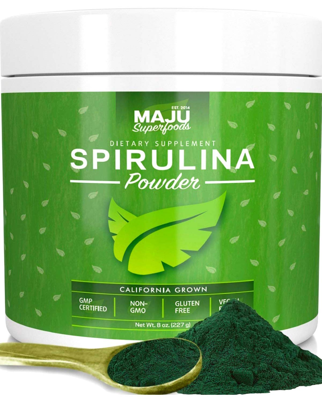 MAJU's Spirulina Powder, Microcystin Free, USA Grown, Non-Irradiated, Non-GMO, Preferred to Chlorella, Pesticide-Free, Preferred to Organic Hawaiian & Blue Algae, Pure Vegan Green Protein