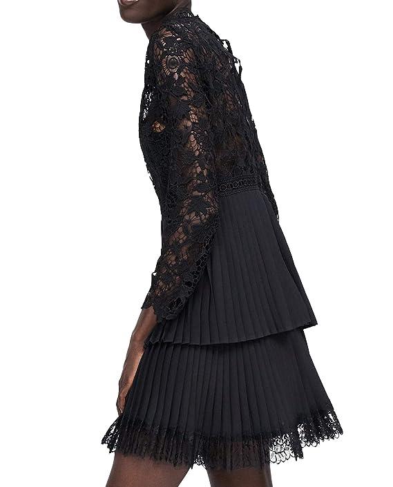 cf26f4e7 Zara Women Contrasting Pleated Dress 8741/035 Black at Amazon Women's  Clothing store: