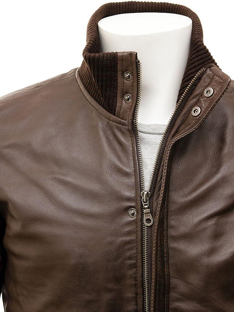 Mens Brown and Black Leather Bomber Jacket Distressed Brown Jacket