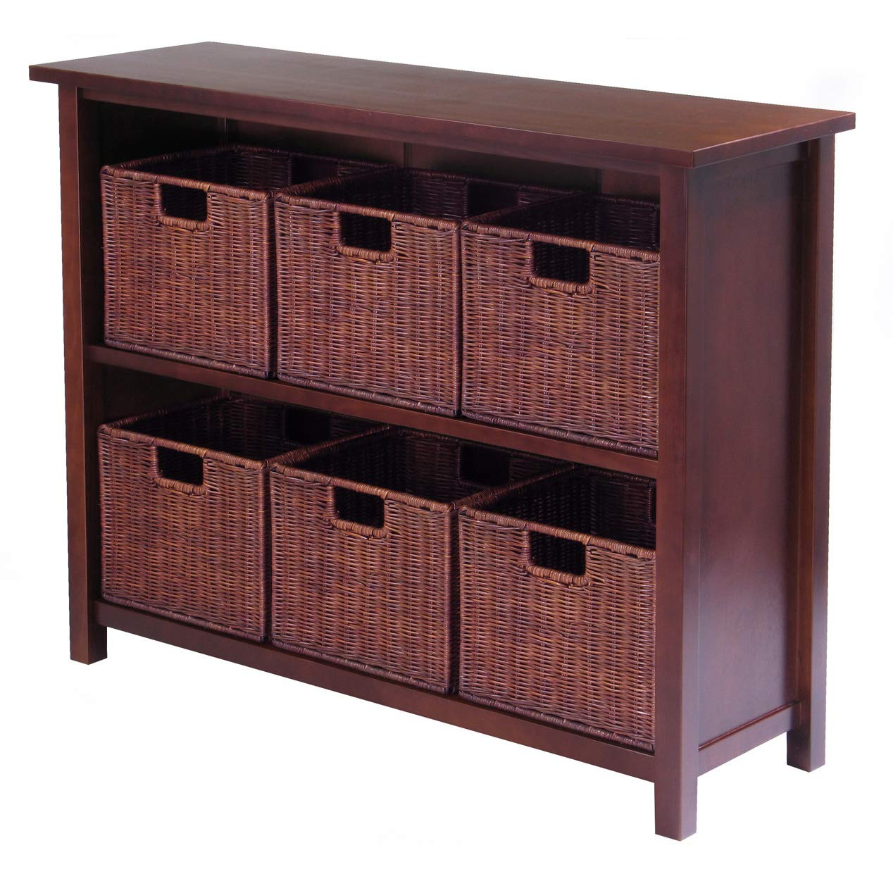 Brown 6 small Winsome Wood Milan Wood 3 Tier Open Cabinet and 6 Rattan Baskets in Antique Walnut Finish