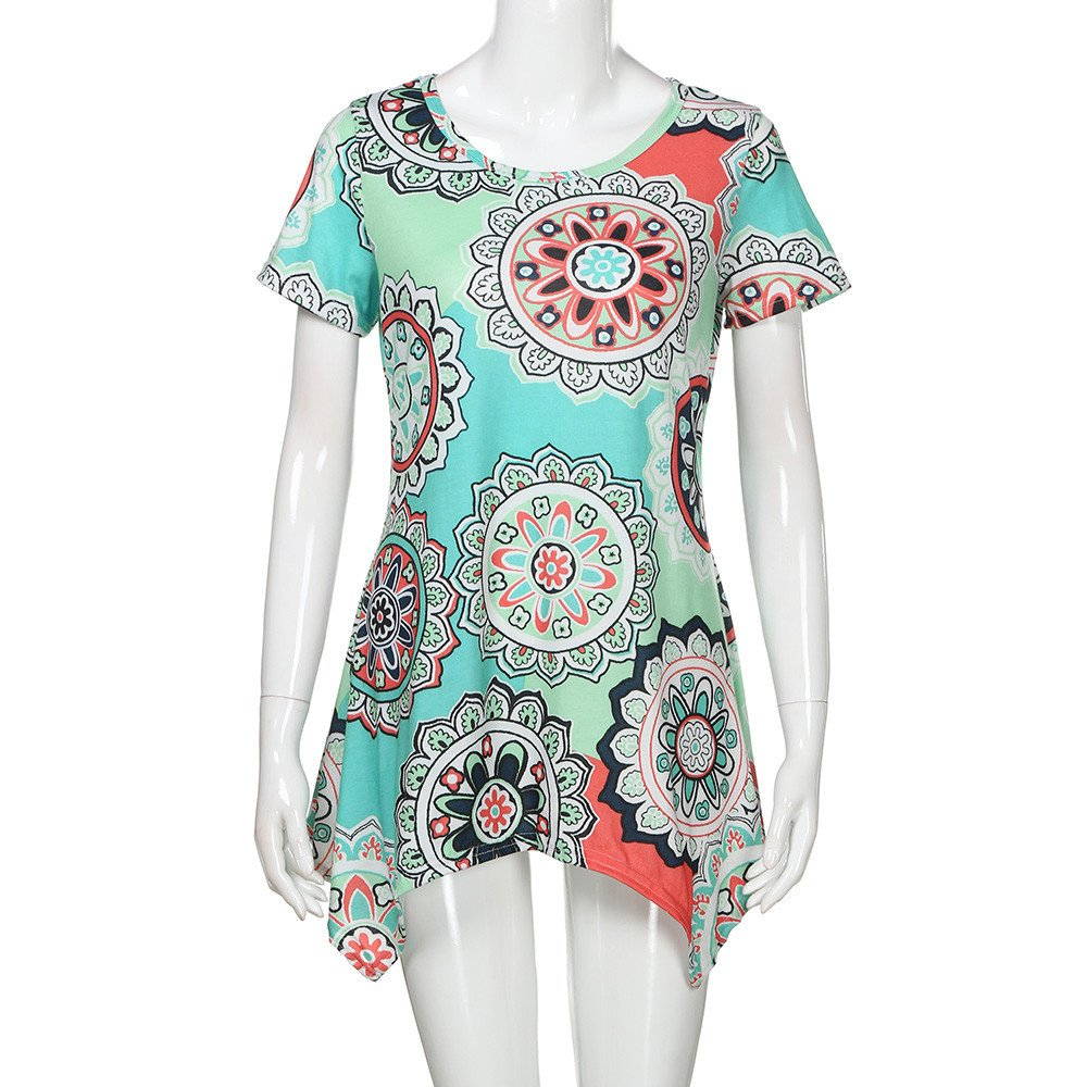 LinLink Femme Mode T-Shirt /Ét/é Casual Loose Col Rond Manche Courtes Vintage Boh/ême Imprim/ée Fleur du Soleil Asym/étrique Ourlets Blouse Longue 2019 Tops Grande Taille Nouveau