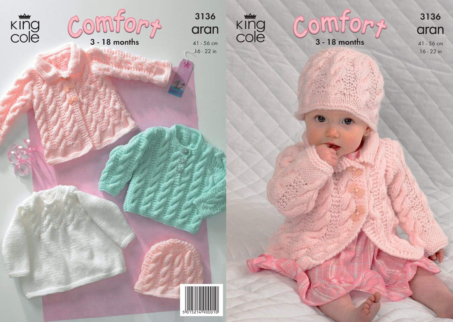King Cole Comfort Aran Knitting Pattern Babies Knitted Coat Dress Sweater & Hat 3136