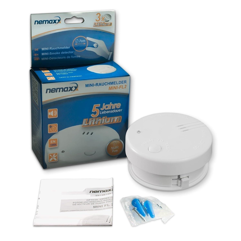 8X Detector de Humo Nemaxx Mini-FL2 Mini Detector de Fuego y Humo Detector con batería de Litio de Acuerdo con la Norma DIN EN 14604 + Nemaxx Pad de ...