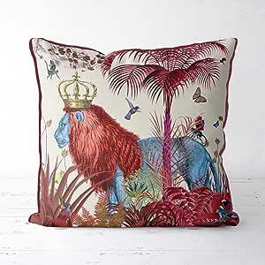 N/A Funda de Almohada de león Rojo, decoración de la Selva